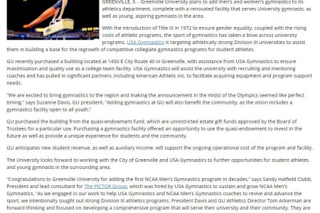 Greenville University partners with USA Gymnastics with support from AAI